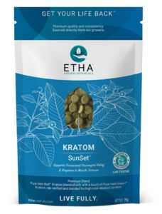 etha sunset kratom tablets sleep rest relaxation inflammation anxiety